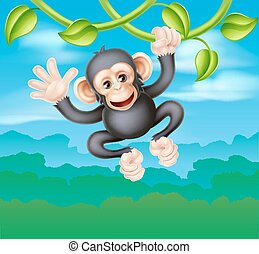 Swinging Cartoon Chimp - A cute cartoon chimp primate,...