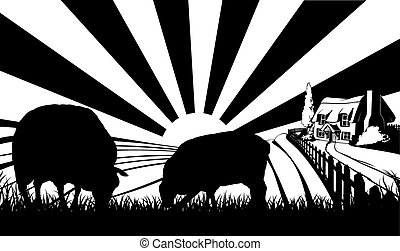 Sheep farm field concept - Two sheep in silhouette standing...