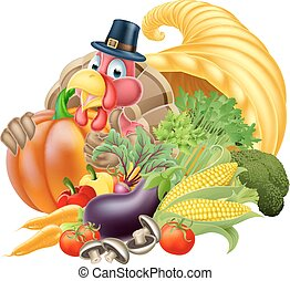 Cornucopia and Thanksgiving Turkey - Thanksgiving golden...