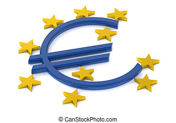 European Central Bank concept isolated on white background