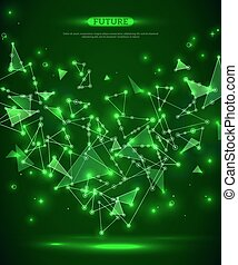 Abstract polygonal space green background with connecting...