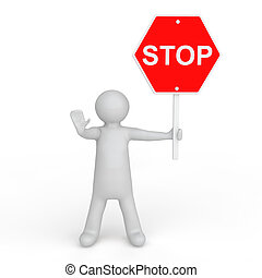 3d man with stop sign board - 3d render of a man with stop...