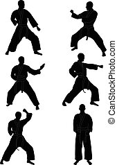 karate silhouettes collection - vector