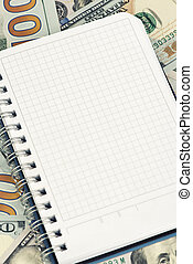 Notepad and dollars With Copy Space - Notepad and heap of...