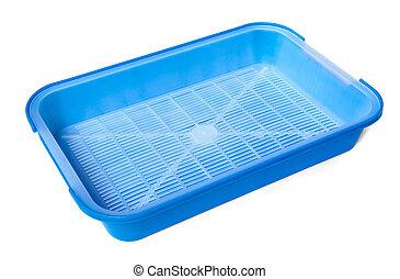 Litter box - Blue plastic litter box isolated on white