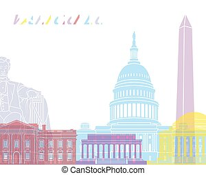 Washington DC skyline pop in editable vector file