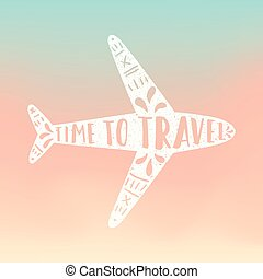 Time to travel. Plane silhouette