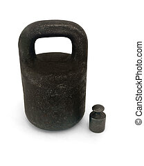 Two iron weights - Two black iron weights isolated on white