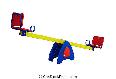 Colorful seesaw - Colorful seesaw with red seats isolated on...