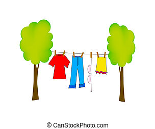 dry washing - nice illustration of dry washing isolated on...