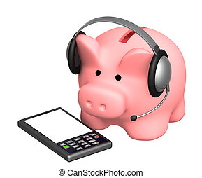 Financial support - piggy bank and phone
