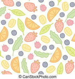 Doodle fruits and berries seamless pattern