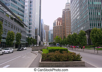 Downtown Vancouver BC Canada - A downtown perspective of...