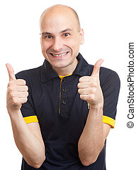 bald man showing his thumb up isolated over white