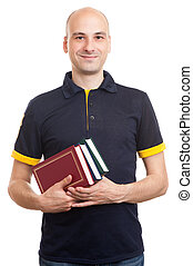 bald handsome man with books - young bald handsome student...