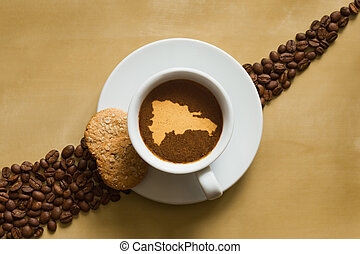 Still life - coffee with map of Dominican Republic - Still...