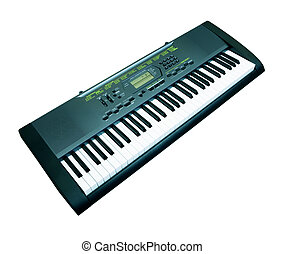 synthesizer - Digital midi keyboard isolated on white