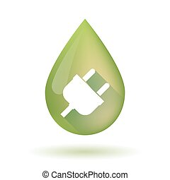 Olive oil drop icon with a plug