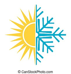 summer winter air conditioning vector