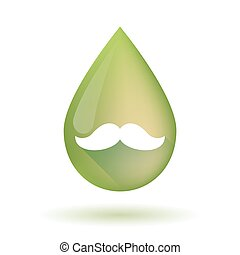 Olive oil drop icon with a moustache