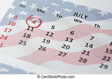 Fourth July - Independence Day - Close up view of calendar...
