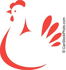 Chicken logo - Sign, stylized silhouette chicken. Logo...