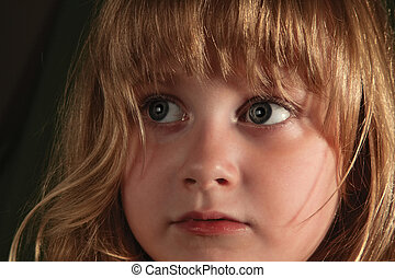 Little girl look 01 - Scared look of very young girl with...