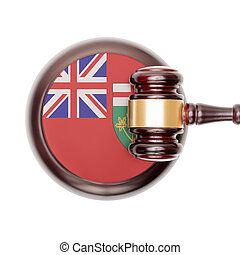 Wooden judge gavel and car keys over sound box - view from...