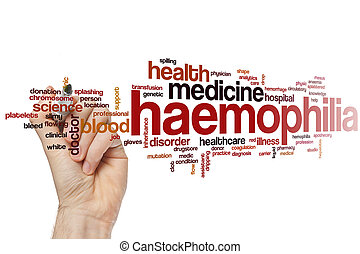 Haemophilia word cloud concept with health blood related...
