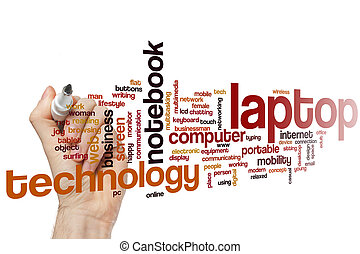 Laptop word cloud concept with technology computer related...
