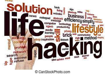 Life hacking word cloud concept