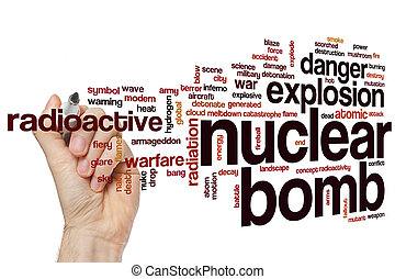 Nuclear bomb word cloud concept with explosion radioactive...