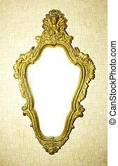 antique frame - old antique gold frame over white background