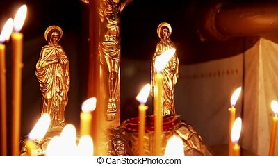 Orthodox Christian Still Iife Crucifixion And Burning Candles There Is The Sound