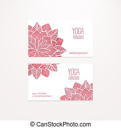 Vector business cards templates with watercolor pink abstract flowers