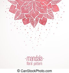 Watercolor pink lace floral pattern on white background -...