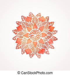 Watercolor red lace pattern. Vector element. Mandala -...