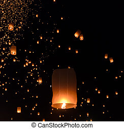 Sky lanterns festival in Thailand - Floating lanterns...