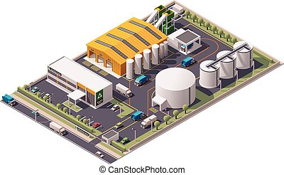 Vector isometric waste recycling plant icon - Isometric icon...