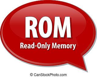 rom, siglas, definición, discurso, burbuja,...