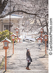 A portrait of beautiful asian woman,Location Gate to...