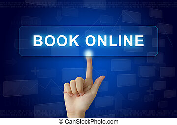 hand press on book online button on touch screen - hand...