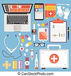 Healthcare, medicine flat concepts - Healthcare and medicine...