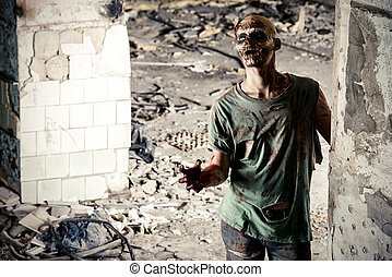 horrible - Horrible scary zombie man on the ruins of an old...