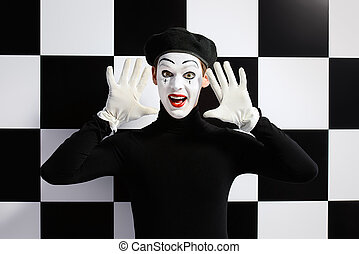 mime artist - Professional mime artist performing different...