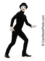 walking mime - Full length portrait of a male mime artist...