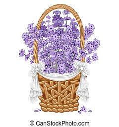 Lavender in basket - Gentle fragrant lavender in thatch...