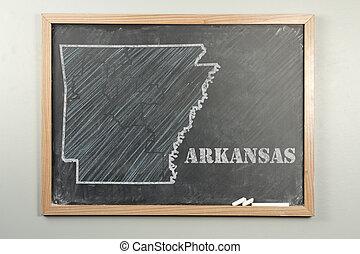 Arkansas State - Outlined Arkansas US state on grade school...