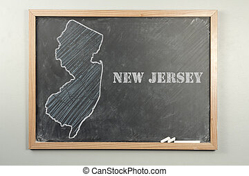 New Jersey State - Outlined New Jersey US state on grade...