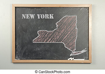 New York State - Outlined New York US state on grade school...